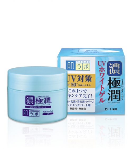 Солнцезащитный гиалуроновый гель для лица HADA LABO Koi-Gokujyun UV White Gel SPF50+ PA++++ 90g
