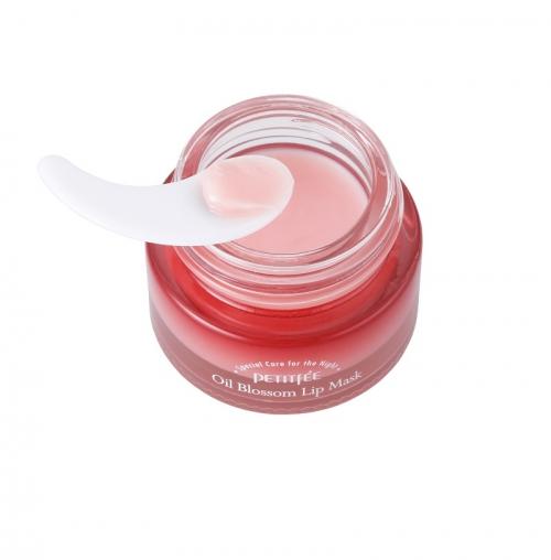 Ночная маска  для губ с маслом камелии и витамином Е PETITFEE Oil Blossom Lip Mask, 15g