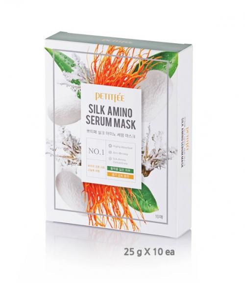 Маска для лица с протеинами шелка PETITFEE Silk Amino Serum Mask, 10шт