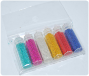 Набор декор бульонки (мелкий бисер) цветной, 6 бутылочек