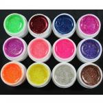 Набор цветных гелей с глиттером, 12шт
