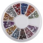 Стразы цветные для декора ногтей в кассетке